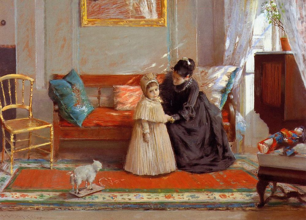 I am Going to See Grandma :: William Merritt Chase - Interiors in art and painting фото