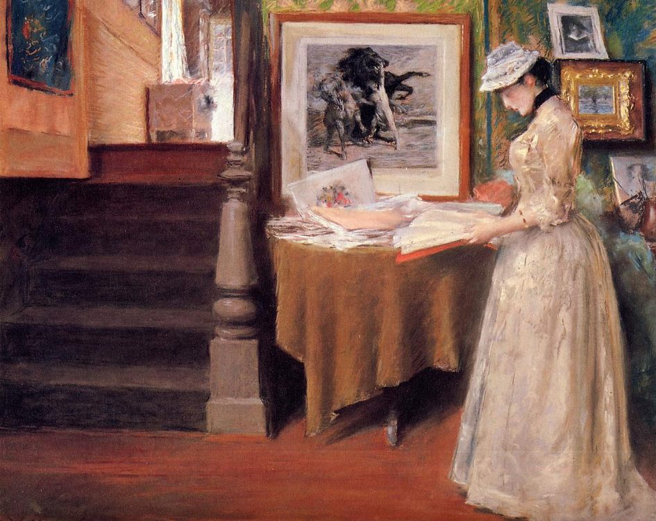 Interior, Young Woman at a Table :: William Merritt Chase - Interiors in art and painting фото