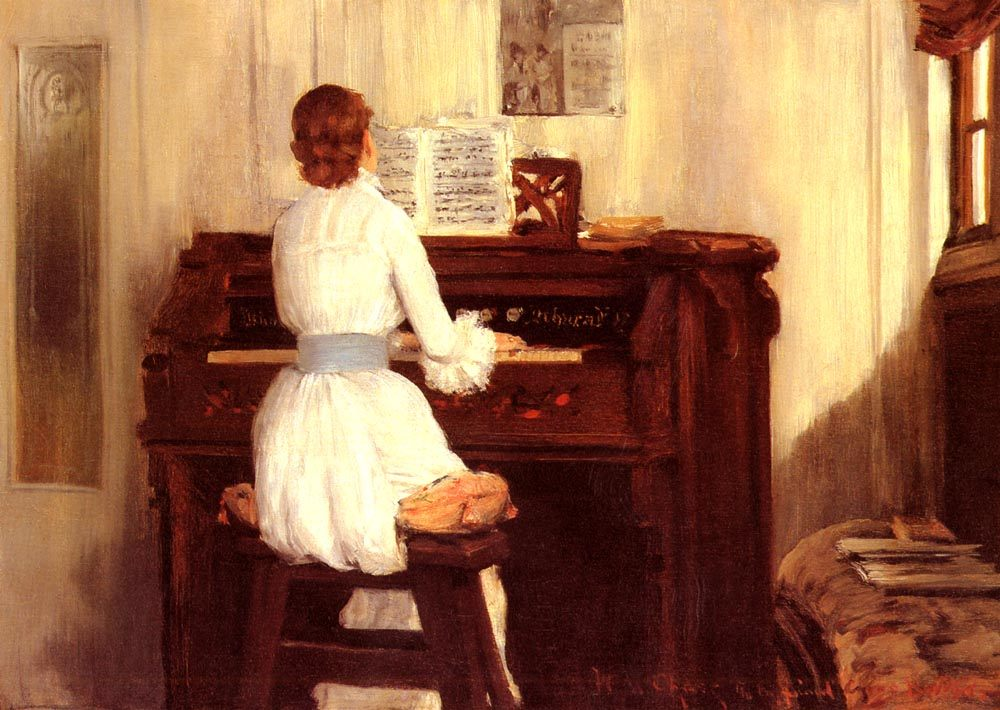 Mrs. Meigs at the Piano Organ :: William Merritt Chase - Interiors in art and painting фото
