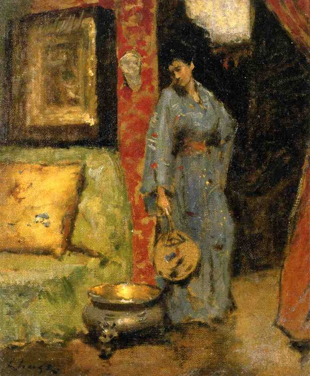 Woman in Kimono Holding a Japanese Fan :: William Merritt Chase - Interiors in art and painting фото