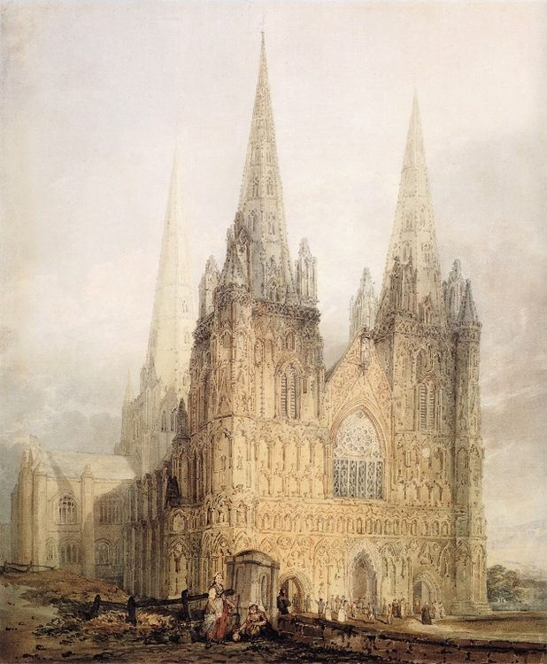 The West Front of Lichfield Cathedral :: Thomas Girtin - Architecture ôîòî