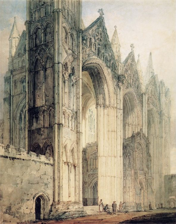 The West Front of Peterborough Cathedral :: Thomas Girtin - Architecture фото