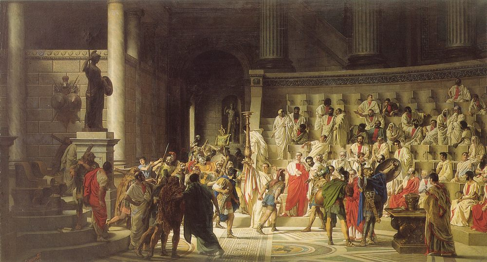 The Last Senate of Julius Caesar :: Raffaele Giannetti - Antique world scenes фото