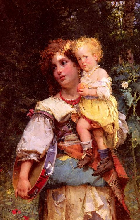 Gypsy Woman and Child :: Cesare-Auguste Detti  - 6 woman's portraits hall ( The middle of 19 centuries ) in art and painting фото
