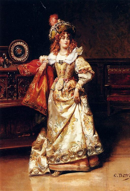 Waiting For Her Escort :: Cesare-Auguste Detti - 6 woman's portraits hall ( The middle of 19 centuries ) in art and painting фото