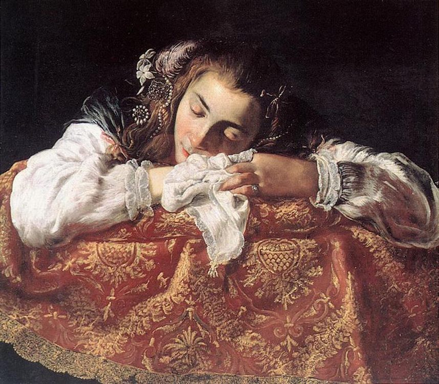 Sleeping Girl :: Domenico Feti - 3 women portraits 17th century hall фото