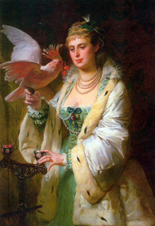 A Treat for her Pet :: Edouard-Marie-Guillaume Dubufe - 6 woman's portraits hall ( The middle of 19 centuries ) in art and painting фото