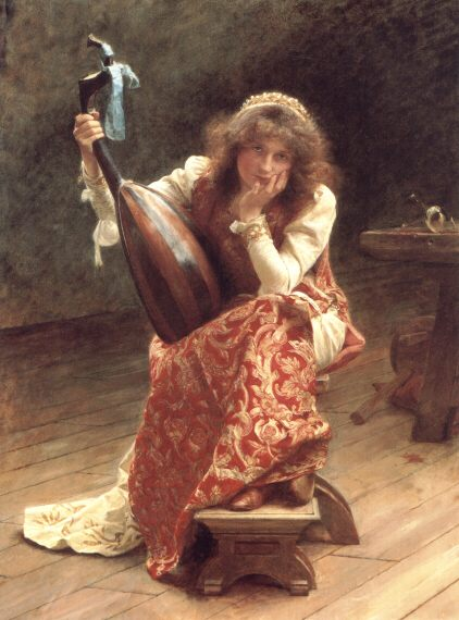The girl with a lute :: Edward John Gregory - 6 woman's portraits hall ( The middle of 19 centuries ) in art and painting фото
