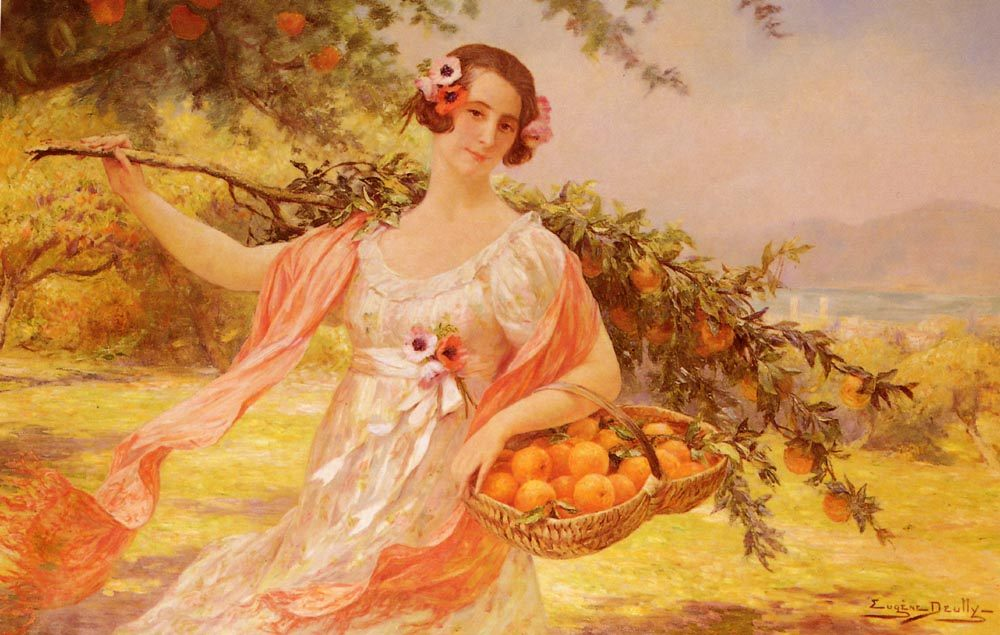 Lady with Oranges :: Eugene Auguste Francois Deully - 6 woman's portraits hall ( The middle of 19 centuries ) in art and painting ôîòî
