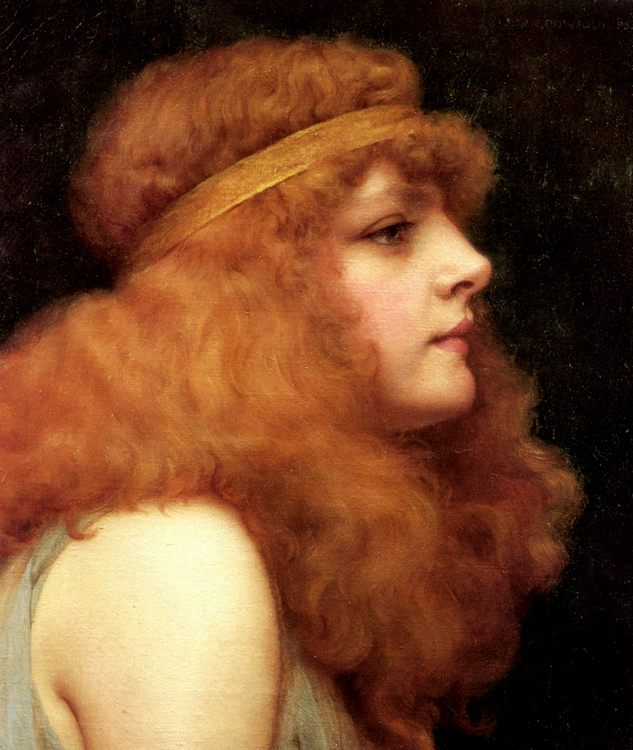 An Auburn Beauty :: John William Godward  - Antique beauties in art and painting фото