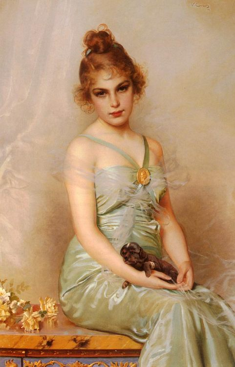 Girl with wounded Puppy :: Vittorio Matteo Corcos - 7 female portraits ( the end of 19 centuries ) in art and painting фото