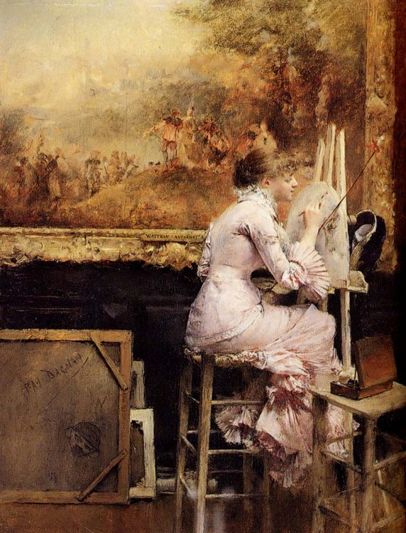 Young Watercolourist In The Louvre :: Pascal-Adolphe-Jean Dagnan-Bouveret - 7 female portraits ( the end of 19 centuries ) in art and painting фото
