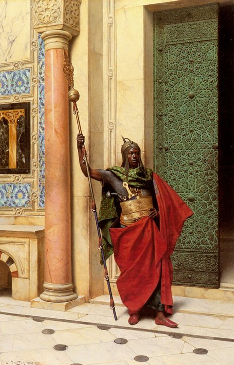 A Nubian Guard :: Ludwig Deutsch - scenes of Oriental life ( Orientalism) in art and painting фото