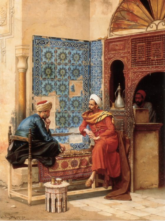 The Chess Game :: Ludwig Deutsch - scenes of Oriental life ( Orientalism) in art and painting ����