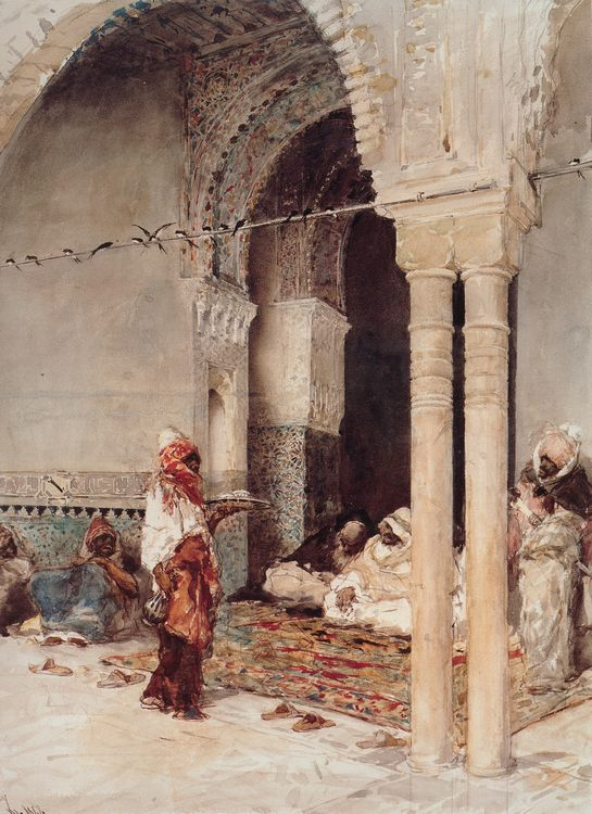 The Cafi of the Swallows :: Mariano Josй Marнa Bernardo Fortuny y Marsal - scenes of Oriental life ( Orientalism) in art and painting фото