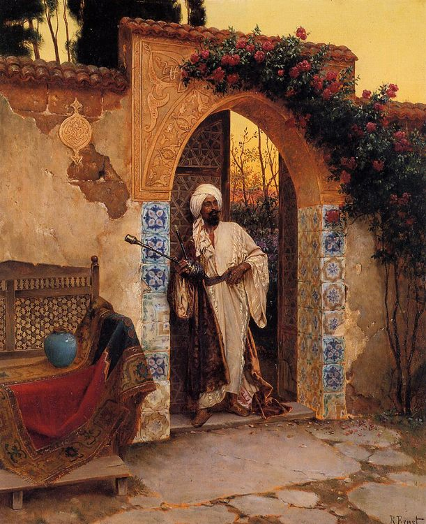 By the Entrance :: Rudolf Ernst - scenes of Oriental life ( Orientalism) in art and painting фото