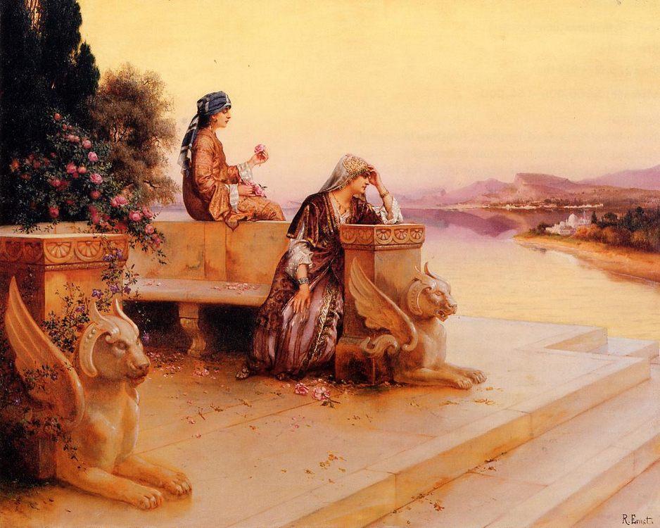 Elegant Arab Ladies on a Terrace at Sunset  :: Rudolf Ernst - scenes of Oriental life (Orientalism) in art and painting ôîòî
