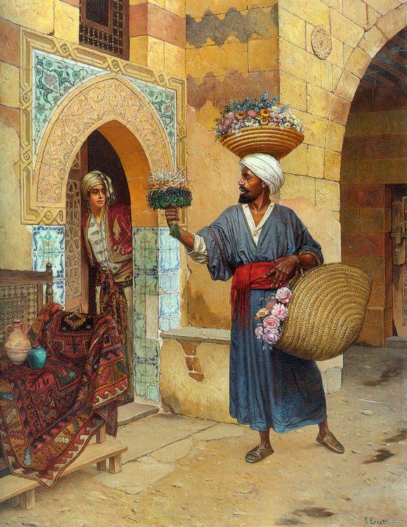 The Flower Seller :: Rudolf Ernst - scenes of Oriental life (Orientalism) in art and painting ôîòî