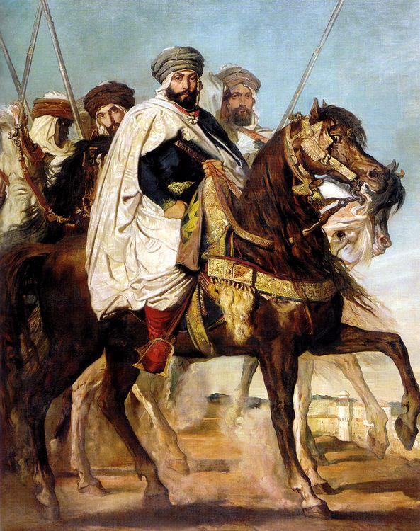 Ali-Ben-Hamet, Caliph of Constantine of the Haractas, followed by his Escort  :: Thiodore Chassiriau - scenes of Oriental life ( Orientalism) in art and painting ôîòî