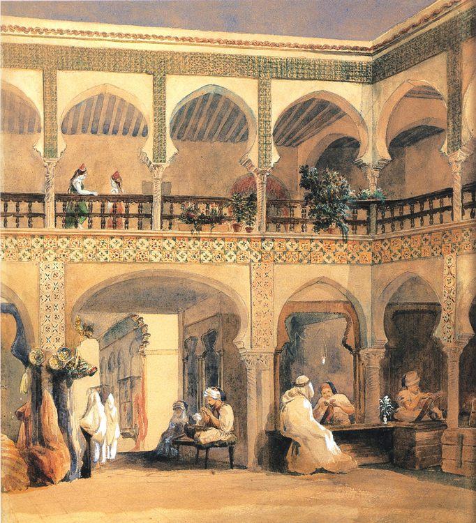 Bazaar in Orleans :: Thiodore Chassiriau - scenes of Oriental life ( Orientalism) in art and painting фото