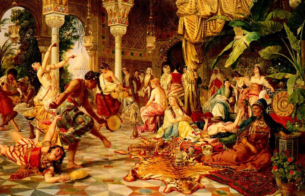 Entertainment In The Harem :: Belisario Gioja - Arab women ( Harem Life scenes ) in art  and painting фото