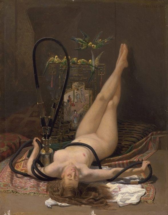 A Voluptuous Smoke :: Charles Edouard Edmond Delort - Arab women (Harem Life scenes) in art  and painting ôîòî