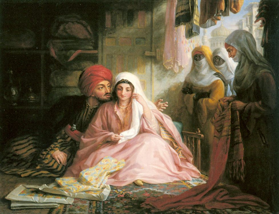 Green Moroccan Courtship :: Edward F. - Arab women ( Harem Life scenes ) in art  and painting фото