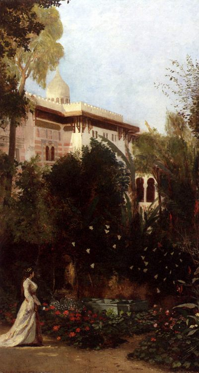 An Oriental Girl In The Palace Garden :: Emmanuel de Dieudonne - Arab women ( Harem Life scenes ) in art  and painting фото