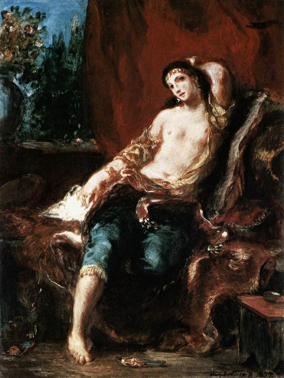 Odalisque :: Eugиne Delacroix  - Arab women ( Harem Life scenes ) in art  and painting фото
