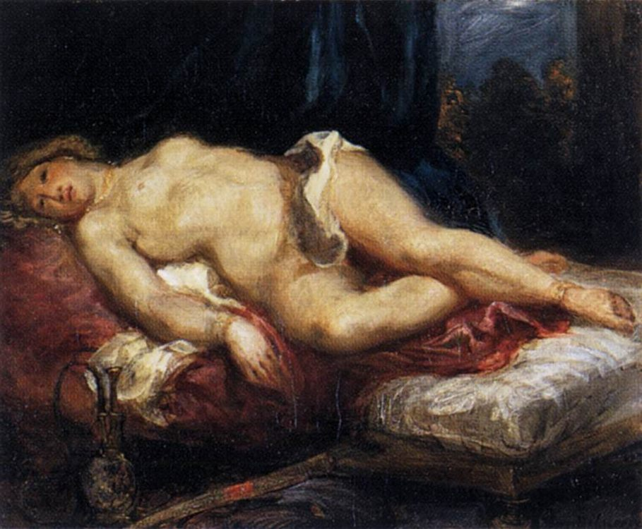 Odalisque Reclining on a Divan :: Eugиne Delacroix - Arab women ( Harem Life scenes ) in art  and painting фото