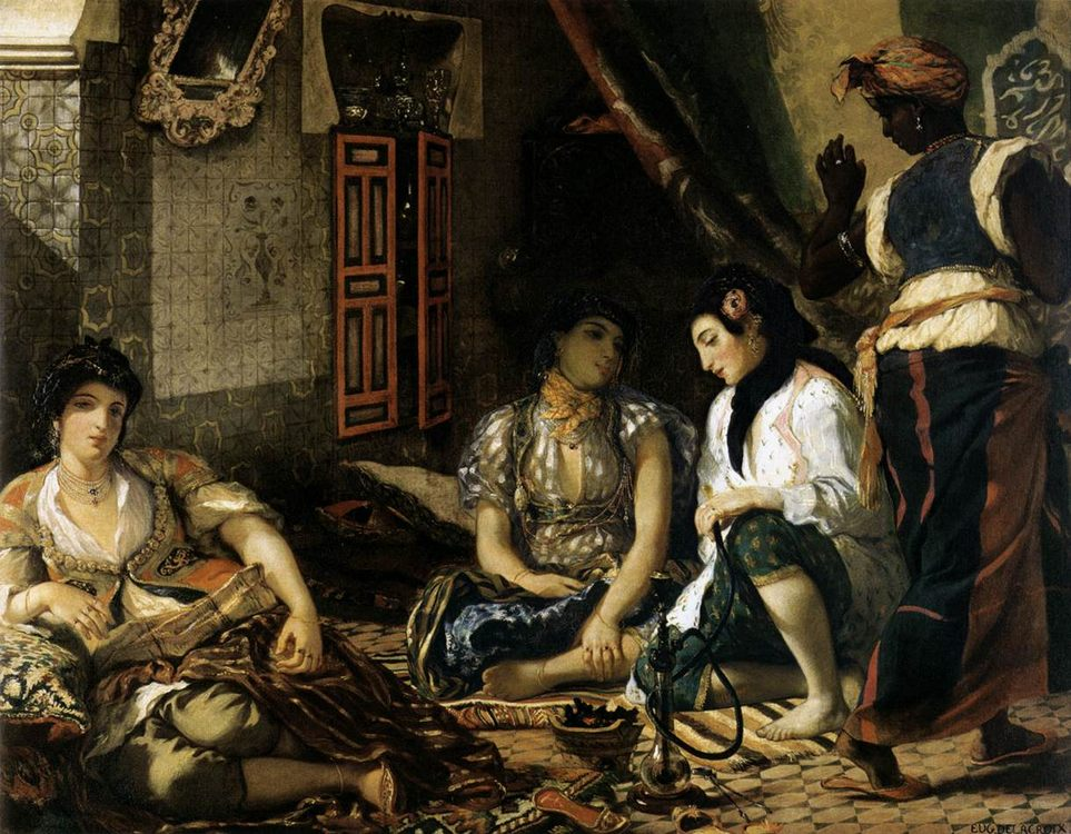 The Women of Algiers :: Eugиne Delacroix - Arab women ( Harem Life scenes ) in art  and painting фото