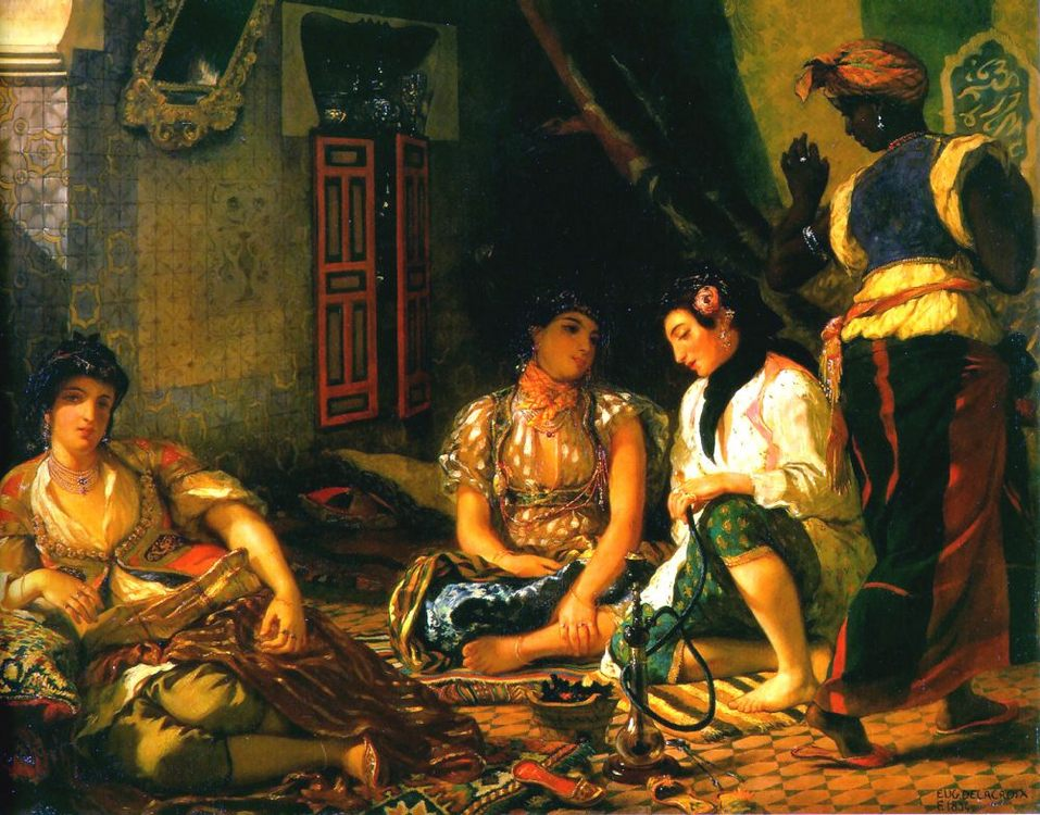 Women of Algiers in their Apartment  :: Eugиne Delacroix - Arab women ( Harem Life scenes ) in art  and painting фото