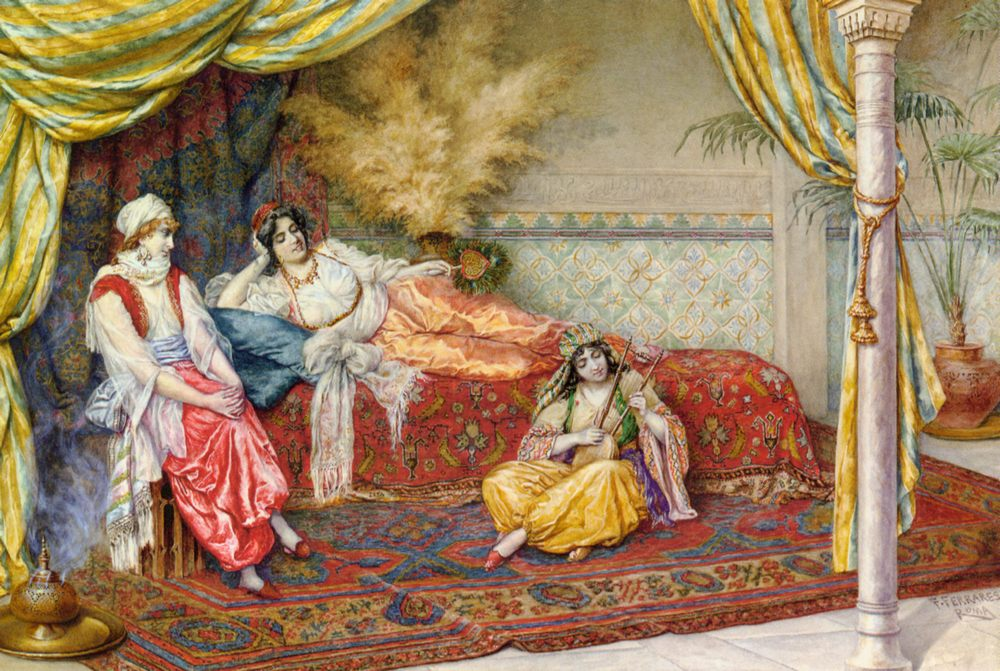 A Musical Interlude :: F. A. Ferraresi - Arab women ( Harem Life scenes ) in art  and painting фото
