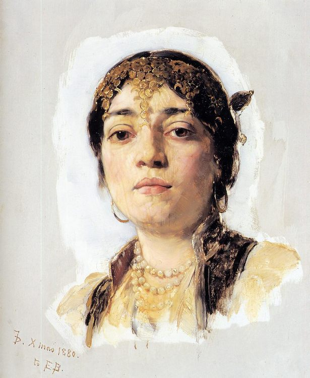 Head of an Oriental Woman :: Frank Duveneck  - Arab women ( Harem Life scenes ) in art  and painting фото