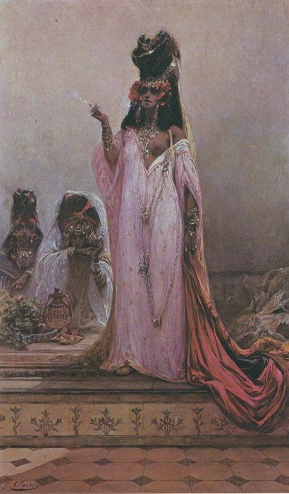 Harem Woman :: Georges Jules Victor Clairin  - Arab women ( Harem Life scenes ) in art  and painting фото
