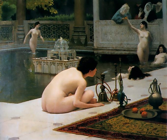 The Teaser of the Narghile :: Jean-Leon Gerome - Arab women ( Harem Life scenes ) in art  and painting фото