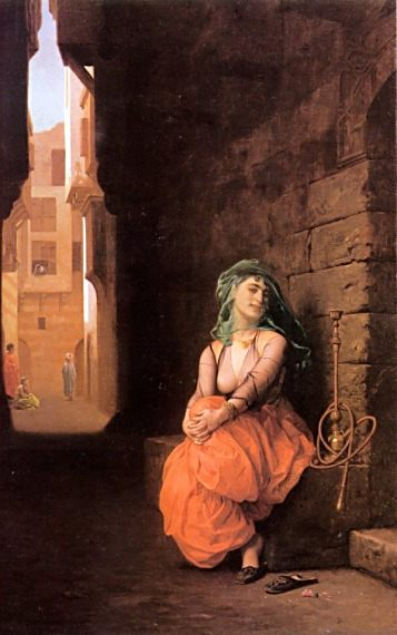 Arab Girl with Waterpipe :: Jean-Leon Gerome - Arab women ( Harem Life scenes ) in art  and painting фото