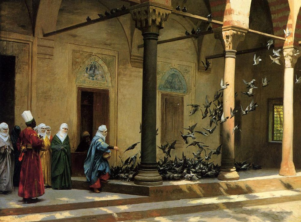 Harem Women Feeding Pigeons in a Courtyard :: Jean-Leon Gerome - Arab women ( Harem Life scenes ) in art  and painting фото