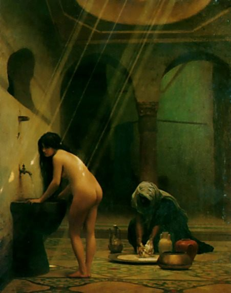 A moorish bath - turkish women at bath ::  Jean-Leon Gerome - Arab women ( Harem Life scenes ) in art  and painting фото