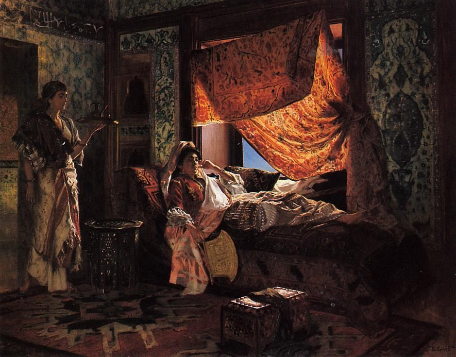 A Moorish Interior :: Rudolf Ernst - Arab women ( Harem Life scenes ) in art  and painting фото