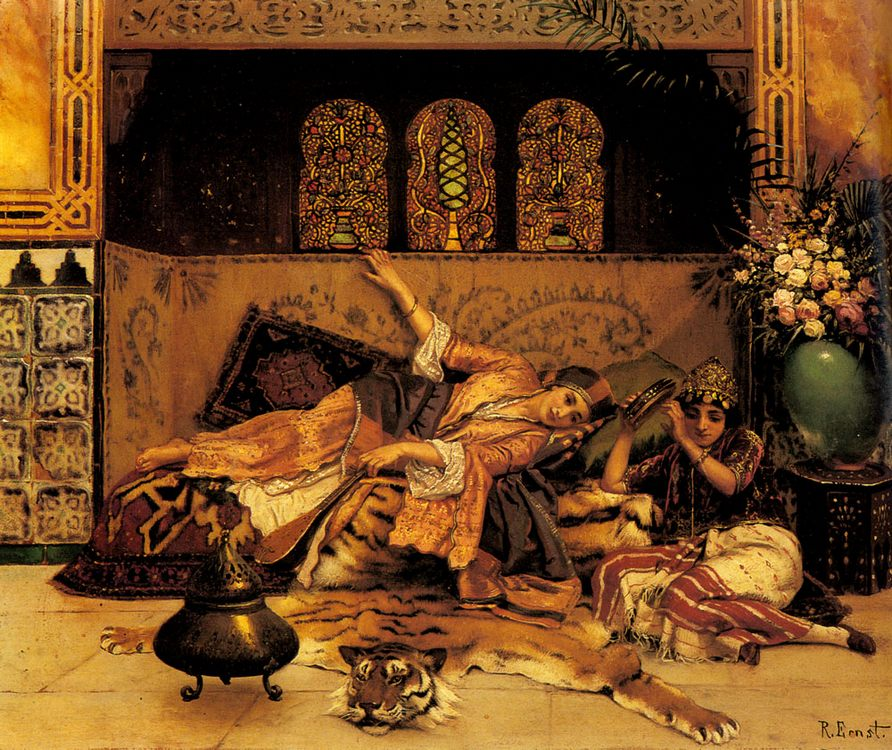 The Captives :: Rudolf Ernst  - Arab women ( Harem Life scenes ) in art  and painting фото