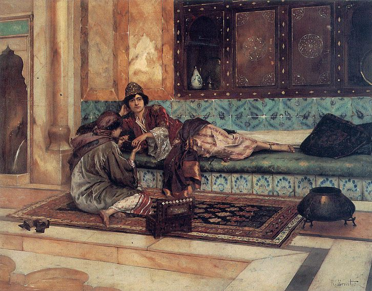 The Manicure :: Rudolf Ernst  - Arab women (Harem Life scenes) in art  and painting ôîòî