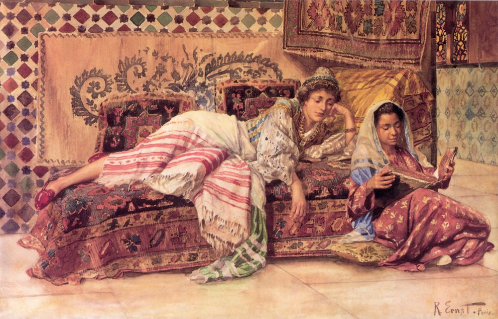 The Reader :: Rudolf Ernst - Arab women ( Harem Life scenes ) in art  and painting фото