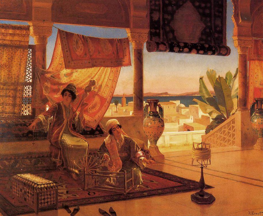 The Terrace :: Rudolf Ernst - Arab women (Harem Life scenes) in art  and painting ôîòî