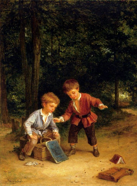Playing Marbles :: Andre Henri Dargelas - Children's portrait in art and painting фото