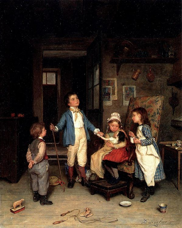 The Doctor's Visit  ::  Andre Henri Dargelas - Children's portrait in art and painting фото