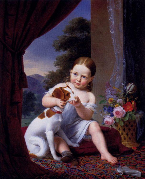 Les Deux Amis :: Antoine Chazal  - Children's portrait in art and painting ôîòî