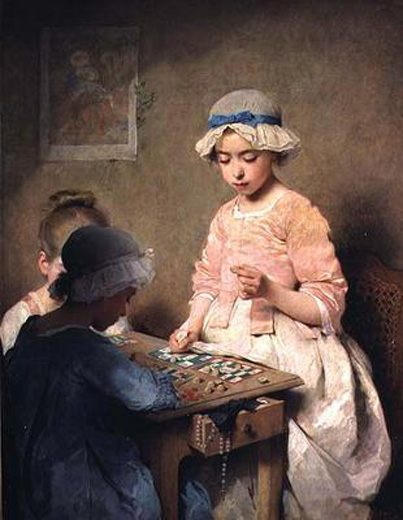 The Game of Lotto :: Charles Chaplin - Children's portrait in art and painting фото