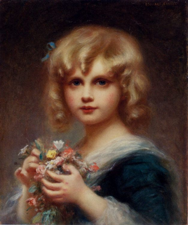 Girl With Flowers :: Edouard Cabane  - Children's portrait in art and painting фото