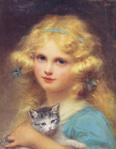 Portrait of a young girl holding a kitten :: Edouard Cabane - Children's portrait in art and painting фото